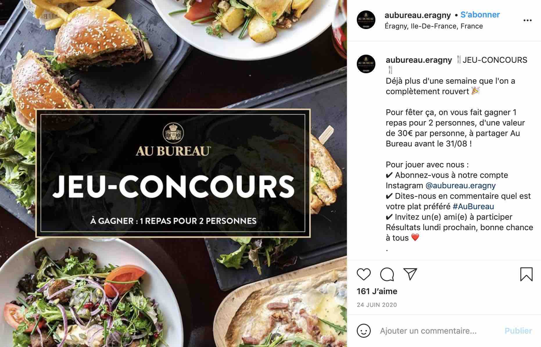 Exemple d'un jeu-concours organisé par Au Bureau Eragny pour agrandir leur communauté Instagram