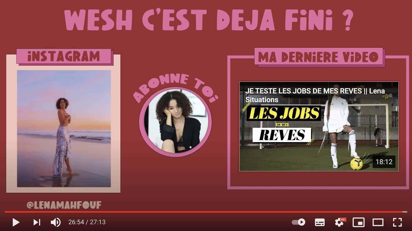 Exemple d'une vidéo de Lena Situations avec une redirection vers son compte Instagram pour développer sa communauté