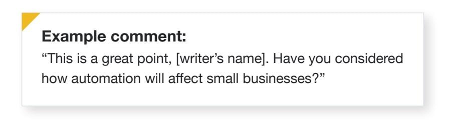 Exemple de commentaire LinkedIn