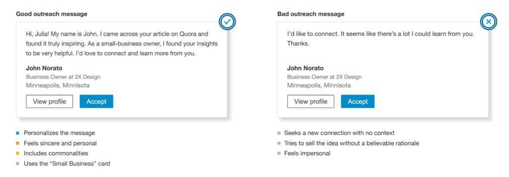 Exemple d'un mauvais et d'un bon message de prospection LinkedIn